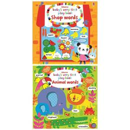 Set pentru invatarea primelor cuvinte in limba engleza: Animal Words si Shop Words editura Usborne