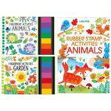 Set carti de pictat cu degetele si cu stampile Animals, Garden Fingerprint Activities Usborne