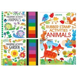 Set carti de pictat cu degetele si cu stampile Animals, Garden Fingerprint Activities Usborne