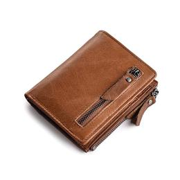 Portofel pentru barbati Jinbaolai, PT146, Piele naturala, Protectie impotriva citirii cardurilor RFID, calitate Premium, model maro