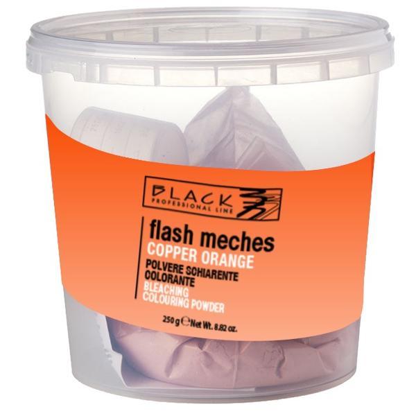 Pudra Decoloranta si cu Aplicare de Culoare - Black Professional Line Flash Meches Orange, 250g poza