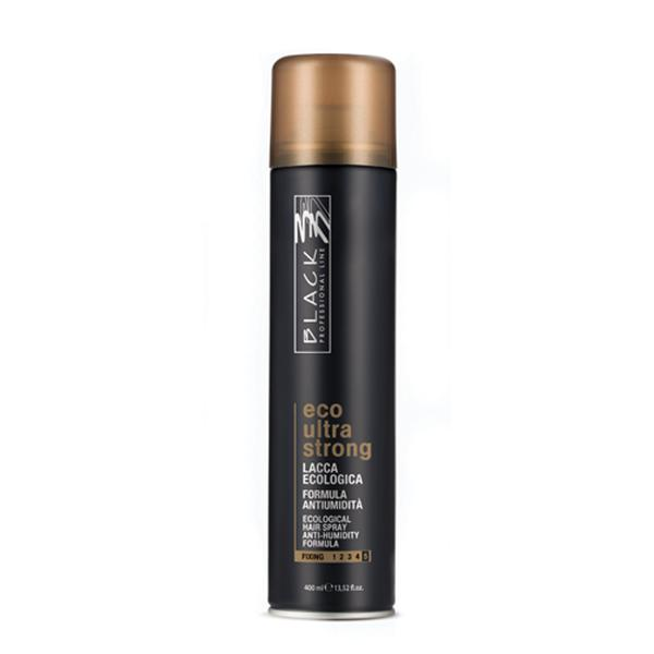 Spray fara Gaz Anti-Umiditate Putere 5 - Black Professional Line Ultra Strong No-Gas Anti-humidity Hairspray, 400ml imagine produs