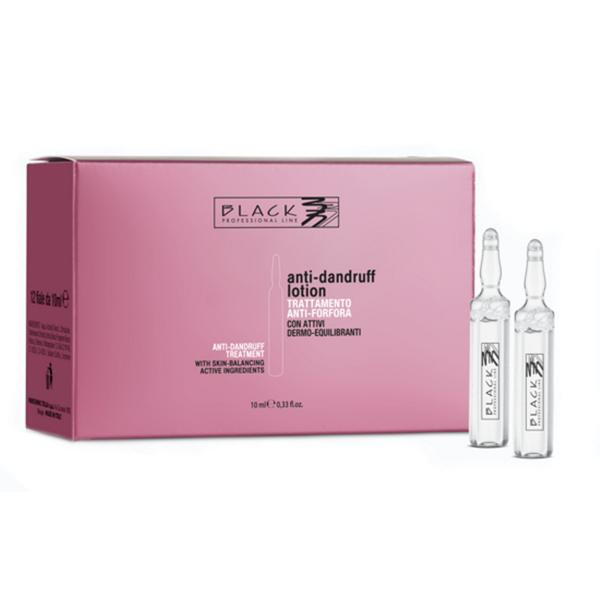 Lotiune Purifianta Anti-Matreata Fiole - Black Professional Line Purifying Anti-Dandruff Lotion, 12 x 10ml
