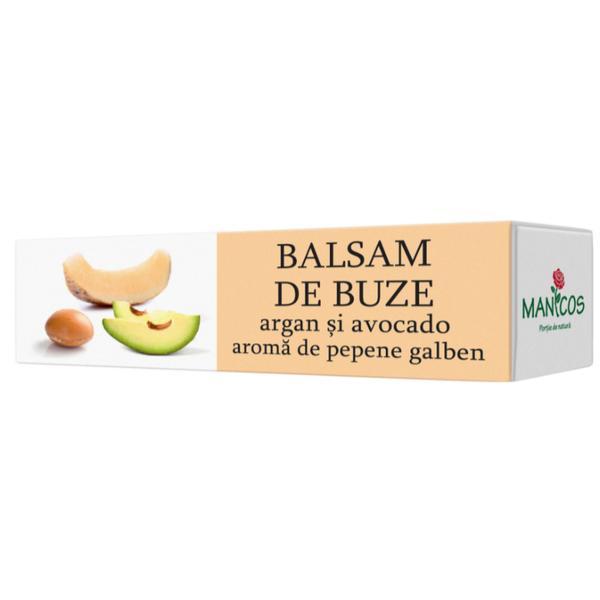 Balsam de Buze cu Argan si Avocado si Aroma de Pepene Galben Manicos, 4.8g imagine produs