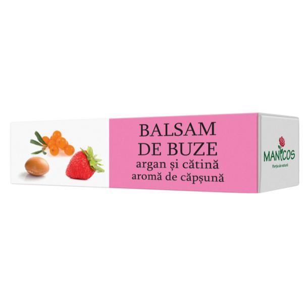 Balsam de Buze cu Argan si Catina si Aroma de Capsuna Manicos, 4.8g poza