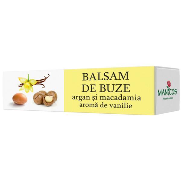 Balsam de Buze cu Argan si Macadamia si Aroma de Vanilie Manicos, 4.8g poza