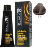 Vopsea Crema fara Amoniac - Black Professional Line Sintesis Color Cream Ammonia Free, nuanta 5.1 Ash Light Brown, 100ml