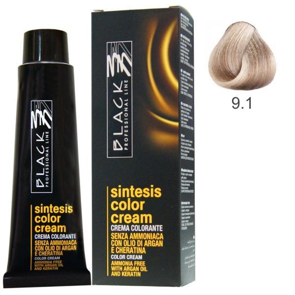 Vopsea Crema fara Amoniac - Black Professional Line Sintesis Color Cream Ammonia Free, nuanta 9.1 Ash Ultra Light Blond, 100ml esteto.ro