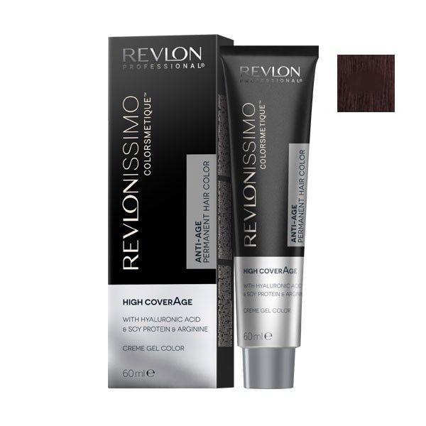 Vopsea Permanenta - Revlon Professional Revlonissimo Colorsmetique High Coverage Permanent Hair Color, nuanta 4.25 Medium Chocolate Brown, 60 ml