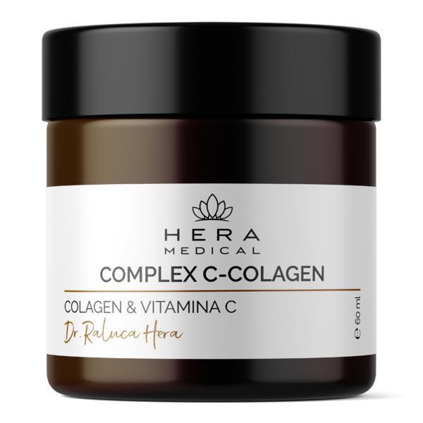 Complex anti-aging hidratant si nutritiv Colagen + Vitamina C pura, Hera Medical Cosmetice BIO, 60 ml imagine produs