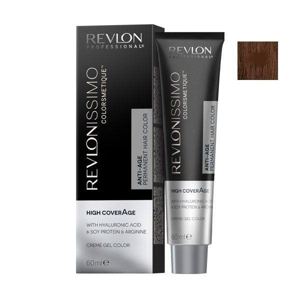 Vopsea Permanenta - Revlon Professional Revlonissimo Colorsmetique High Coverage Permanent Hair Color, nuanta 5.35 Light Amber Brown, 60 ml