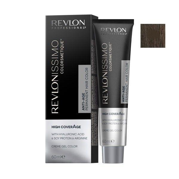 Vopsea Permanenta - Revlon Professional Revlonissimo Colorsmetique High Coverage Permanent Hair Color, nuanta 5.41 Deep Chestnut Light Brown, 60 ml