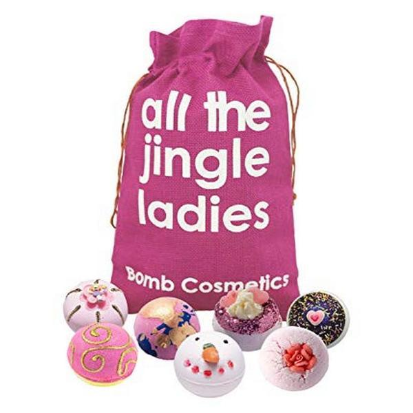 Set cadou All The Jingle Ladies Hessian Sack, Bomb Cosmetics - contine 7 bile efervescente imagine produs