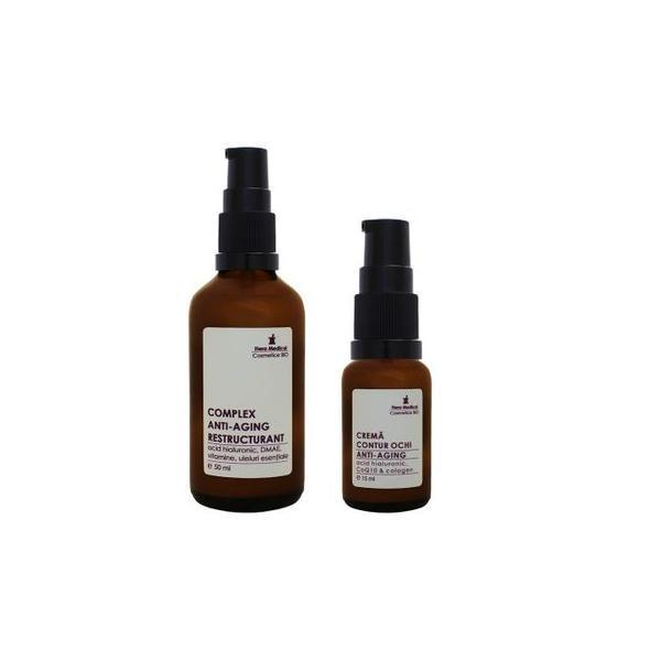 Duo Anti-Aging, Hera Medical Cosmetice BIO, 2 buc: Complex anti-aging restructurant 50 ml, crema contur ochi anti-aging 15 ml