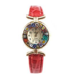 Ceas Venice Red cu sticla de Murano 1 - SaraTremo