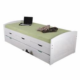 Pat extensibil, modern cu un pat suplimentar pull-out 3 sertare alb, 90x200, MobHaus
