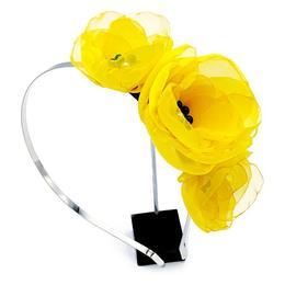 Coronita par cu flori galbene, din voal stil matase, Maya, Zia Fashion