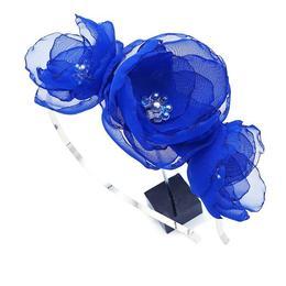 Coronita par cu flori, din voal stil matase albastru, handmade, Anna, Zia Fashion