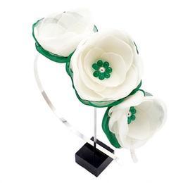 Coronita par cu flori albe, din voal, handmade, White Fairy, Zia Fashion