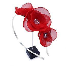 Coronita par cu flori rosii, din voal, handmade, Ariel, Zia Fashion