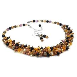 Set colier si cercei, perle Swarovski, handmade, Golden Touch, Zia Fashion