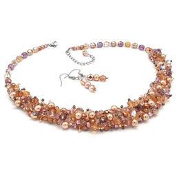 Set colier si cercei, perle Swarovski, roz pudra, Feeling, Zia Fashion