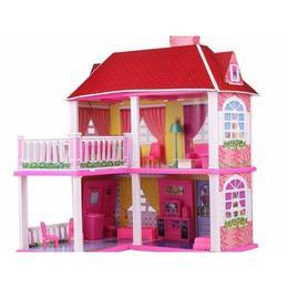 Casuta pentru papusi MalPlay cu 2 etaje,5 camere mobilate si terasa supraetajata, 70 cm