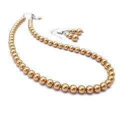 Set colier si cercei, perle Swarovski, 38 cm, Golden Queen, Zia Fashion