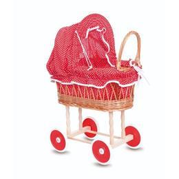 Cărucior pentru păpuși, husă roșie cu buline, Egmont
