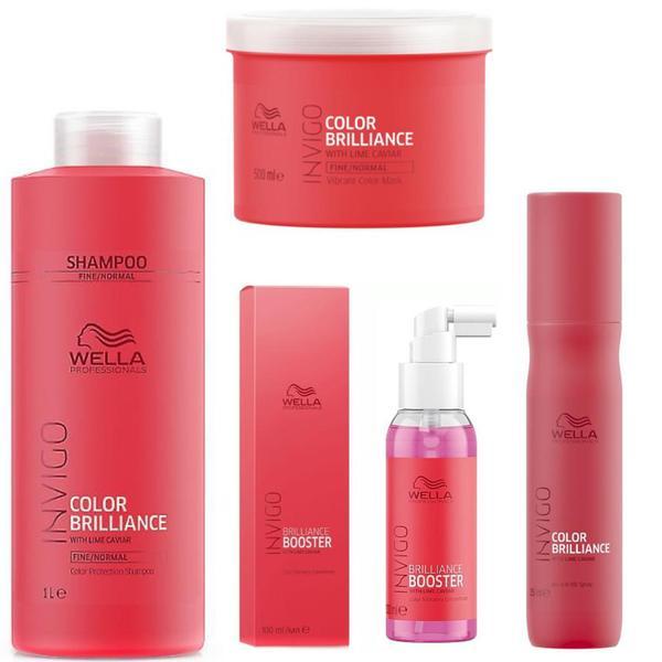 Pachet pentru Par Vopsit - Wella Professionals - Sampon 1000 ml, Masca 500 ml, Tratament 100 ml, Spray 150 ml poza
