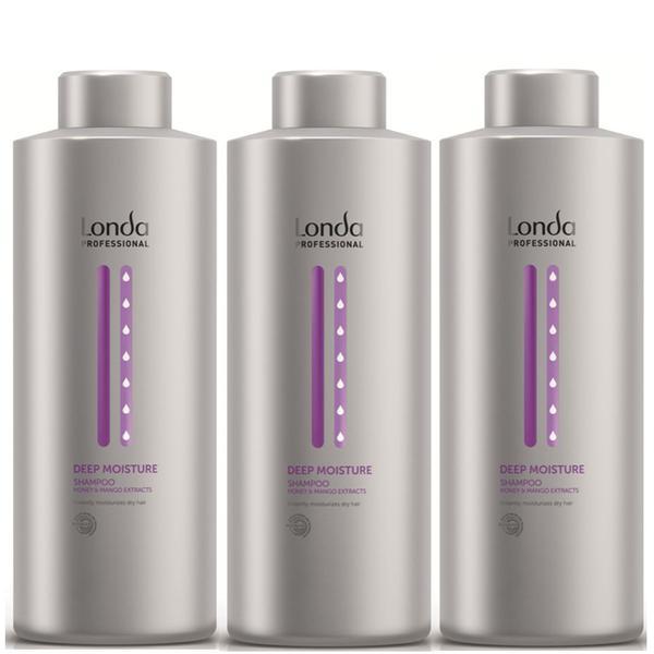 Pachet 3 x Sampon Intens Hidratant - Londa Professional Deep Moisture Shampoo 1000 ml imagine produs