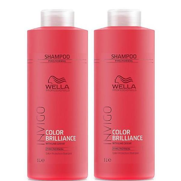 Pachet 2 x Sampon pentru Par Vopsit, Fin sau Normal - Wella Professionals Invigo Color Brilliance Color Protection Shampoo Fine/Normal Hair, 1000ml imagine produs