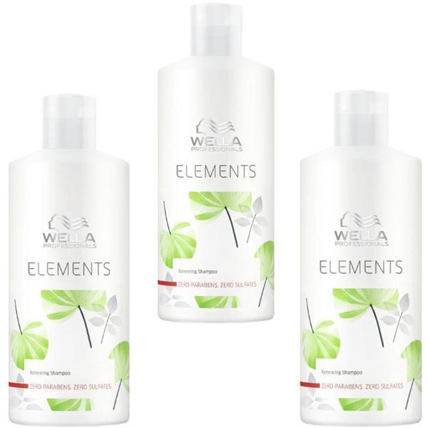 Pachet 3 x Sampon Revitalizant - Wella Professionals Elements Renewing Shampoo, 500ml imagine produs