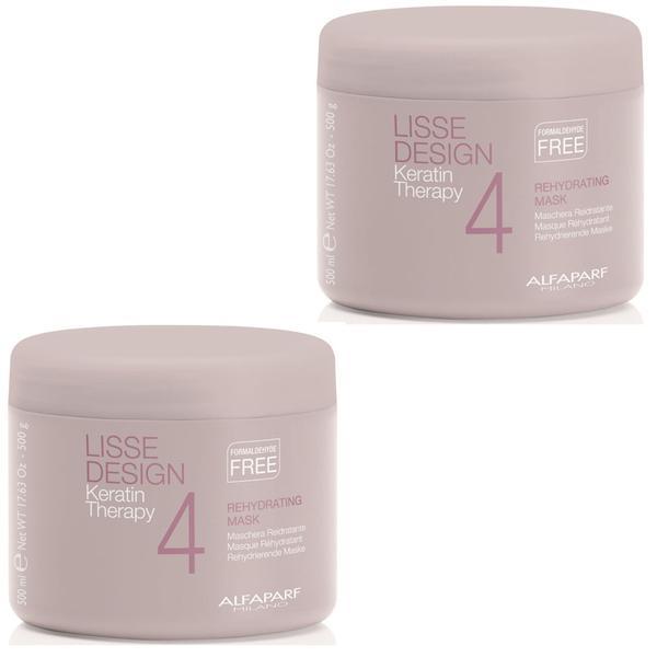 Pachet 2 x Masca Rehidratanta pentru Netezire - Alfaparf Milano Lisse Design Keratin Therapy Rehydrating Mask 500 ml