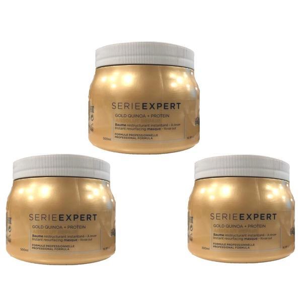Pachet 3 x Masca Restructuranta pentru Par Deteriorat - L'Oreal Professionnel Absolut Repair Gold Quinoa + Protein Instant Resurfacing Masque, 500ml imagine