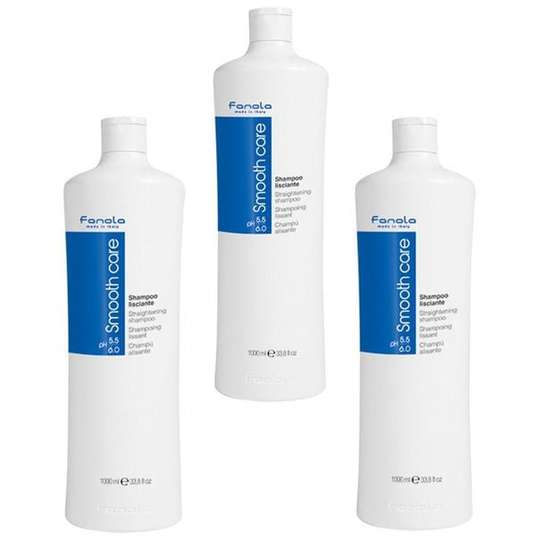 Pachet 3 x Sampon pentru Indreptarea Parului - Fanola Smooth Care Straightening Shampoo, 1000ml imagine produs