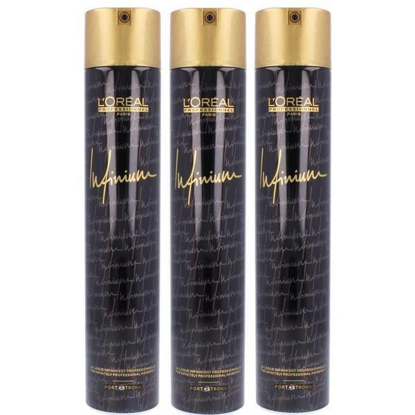 Pachet 3 x Fixativ cu Fixare Strong - L'Oreal Professionnel Infinium Strong Hairspray 500 ml imagine produs