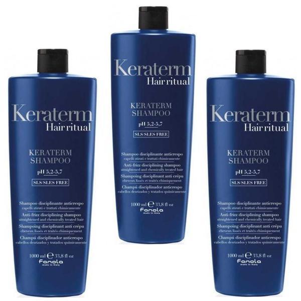 Pachet 3 x Sampon pentru Netezire - Fanola Keraterm Hair Ritual Anti-Frizz Disciplining Shampoo, 1000ml imagine produs