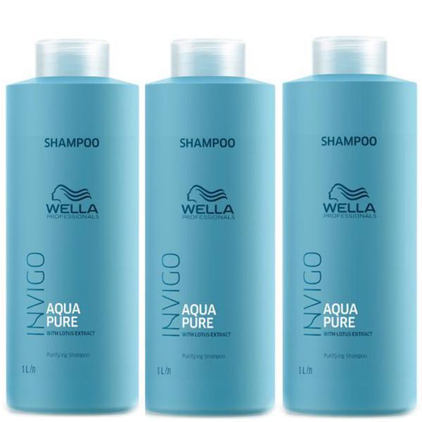 Pachet 3x Sampon Purificator impotriva Excesului de Sebum - Wella Professionals Invigo Aqua Pure Purifying Shampoo, 1000ml imagine produs