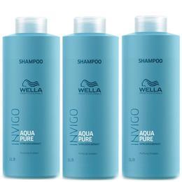 Pachet 3x Sampon Purificator Impotriva Excesului De Sebum - Wella Professionals Invigo Aqua Pure Purifying Shampoo, 1000ml