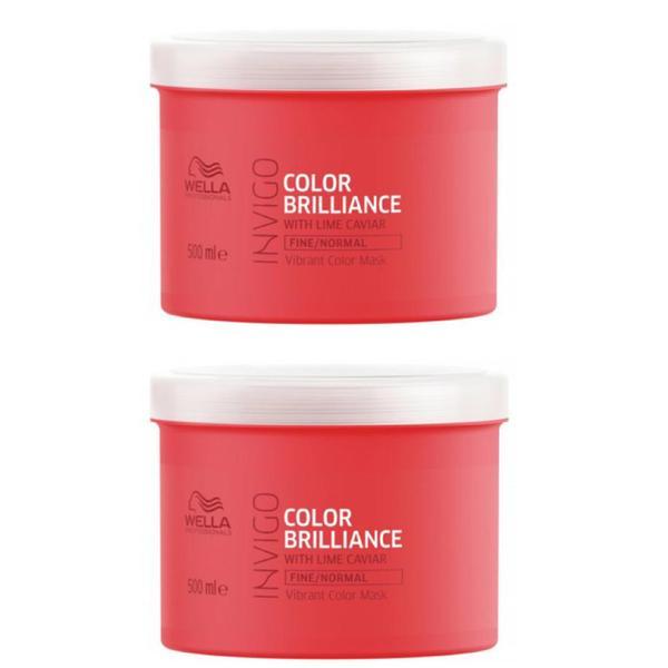 Pachet 2 x Masca pentru Par Vopsit, Fin sau Normal - Wella Professionals Invigo Color Brilliance Vibrant Color Mask Fine/Normal Hair, 500ml imagine