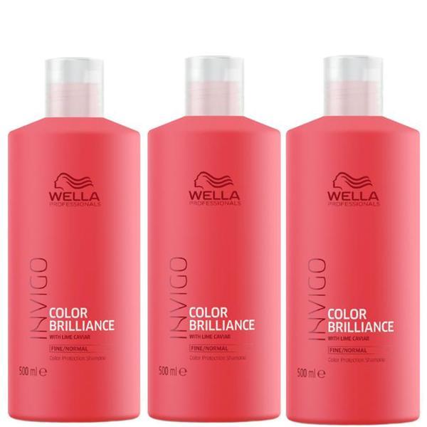 Pachet 3 x Sampon pentru Par Vopsit, Fin sau Normal - Wella Professionals Invigo Color Brilliance Color Protection Shampoo Fine/Normal Hair, 500ml imagine produs
