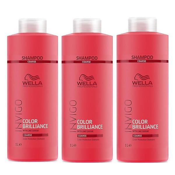 Pachet 3 x Sampon pentru Par Vopsit, Aspru - Wella Professionals Invigo Color Brilliance Color Protection Shampoo Coarse Hair, 1000ml imagine produs