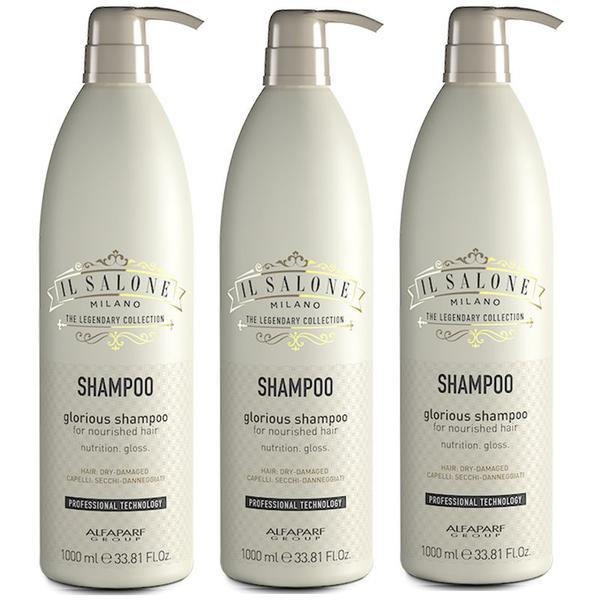 Pachet 3 x Sampon Par Foarte Degradat si Uscat - Alfaparf Milano Il Salone Glorious Shampoo 1000 ml imagine produs