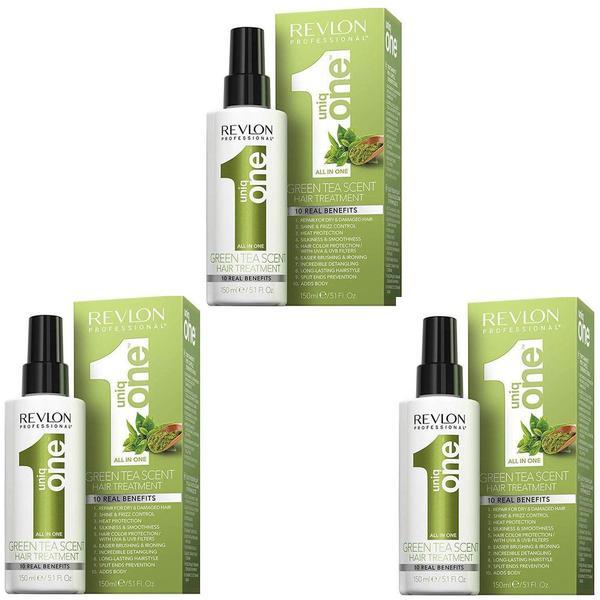 Pachet 3 x Tratament Pentru Par - Revlon Professional Uniq One Green Tea Scent Hair Treatment, 150 ml