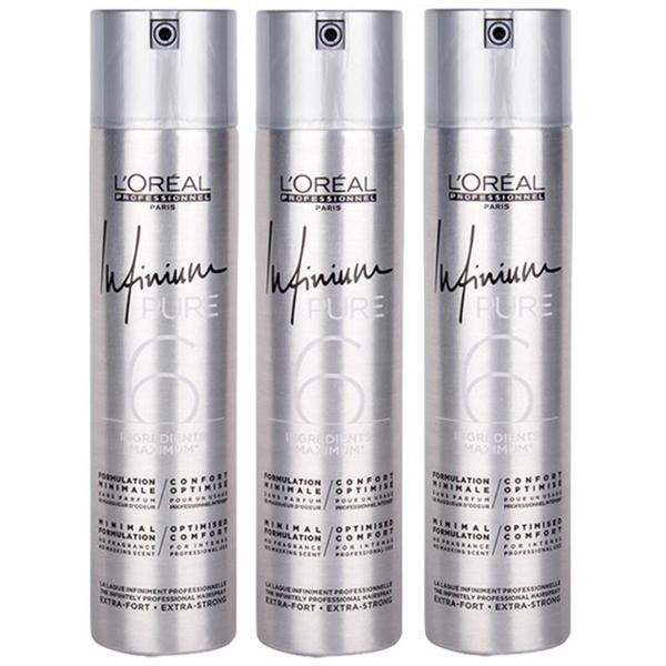Pachet 3 x Fixativ cu Fixare Extra-Puternica - L'Oreal Professionnel Infinium Pure Extra-Strong Hairspray, 500ml imagine produs