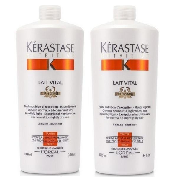 Pachet 2 x Balsam pentru Par Normal spre Uscat - Kerastase Nutritive Lait Vital Irisome Conditioner 1000 ml imagine