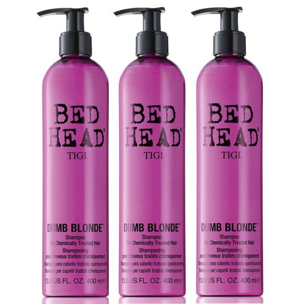 Pachet 3 x Sampon pentru Par Tratat - TIGI Bed Head Dumb Blonde Shampoo 400 ml imagine produs