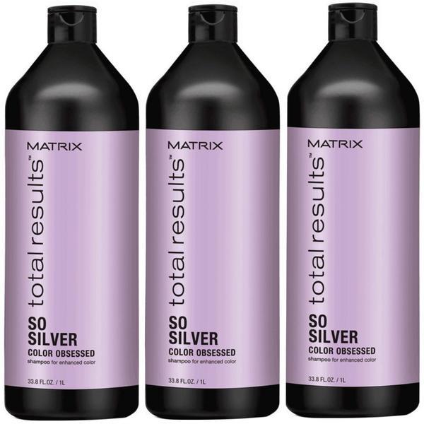 Pachet 3 x Sampon pentru Par Blond - Matrix Total Results So Silver Color Obsessed Shampoo 1000 ml imagine produs