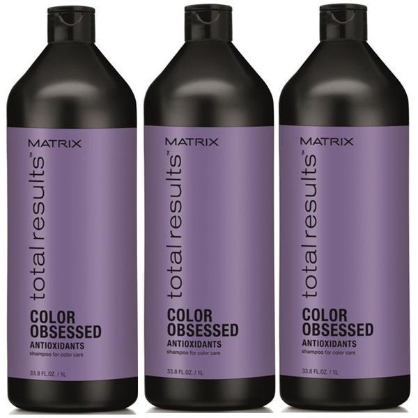 Pachet 3 x Sampon pentru Par Vopsit - Matrix Total Results Color Obsessed Shampoo 1000 ml imagine produs